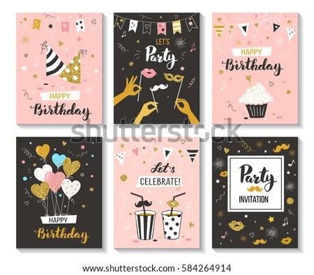 Happy birthday greeting card party invitation stock vector happy birthday greeting card and party invitation collection vector illustration hand drawn style stopboris Gallery