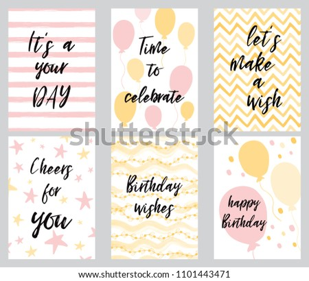Happy birthday greeting card party invitation stock vector happy birthday greeting card and party invitation templates vector illustration hand drawn style in light pink m4hsunfo
