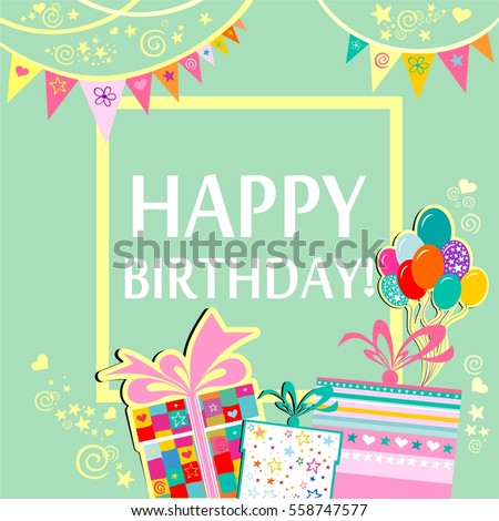 Happy Birthday Greeting Card Celebration Green Stock Vector Royalty
