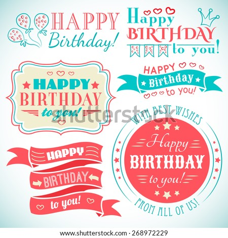 Happy birthday greeting card collection in holiday design. Retro vintage style. Typography letters font type. Vector illustration for your pretty design. Red, white and blue colors. - stock vector