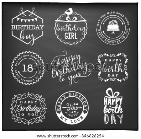 Happy birthday greeting card design elements stock photo photo happy birthday greeting card design elements badges and labels in vintage style m4hsunfo