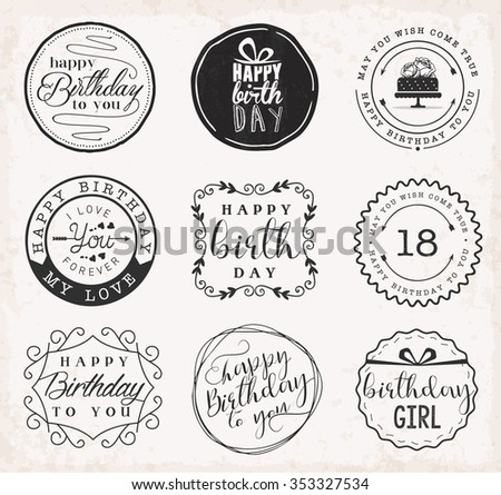 Happy birthday greeting card design elements stock vector 353327534 happy birthday greeting card design elements badges and labels in vintage style m4hsunfo