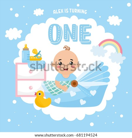 Happy Birthday Greeting Card Design Frame Stock Vector 2018