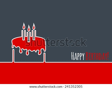 Happy birthday greeting card design with birthday cake and candles - stock vector