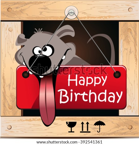 Happy Birthday greeting card dog - stock vector