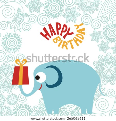 Happy birthday greeting card elephant with gift vector illustration - stock vector