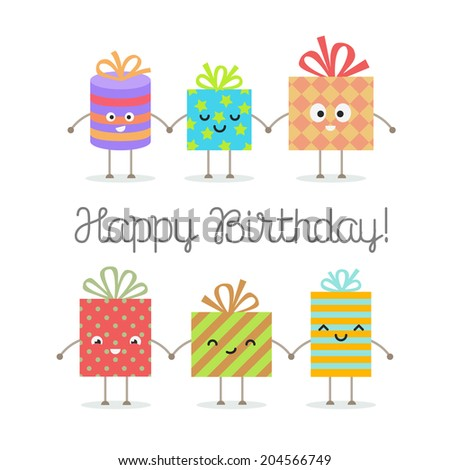 Happy birthday greeting card Gift boxes smiling and holding hands - stock vector