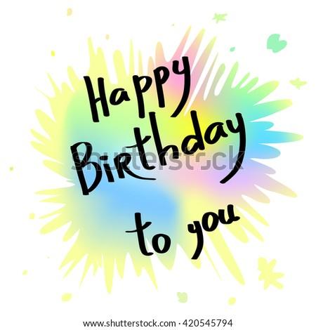 happy birthday greeting card handwritten anniversary vector de stock