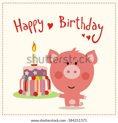 Happy Birthday Greeting Card Happy Birthday Vector 384251353 – Cute Birthday Greeting Cards