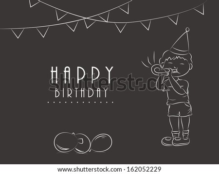 Happy Birthday, greeting card or gift card with sketch of little boy in birthday cap playing party horn blower on decorated vintage brown background.  - stock vector