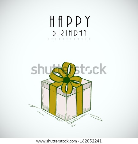 Happy Birthday, greeting card or invitation card with gift box wrapped by green ribbon on grungy grey background.  - stock vector