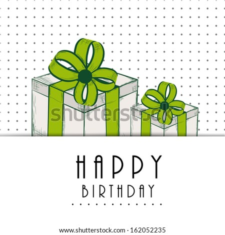 Happy Birthday, greeting card or invitation card with gift boxes wrapped by green ribbons on dotted grey background.  - stock vector