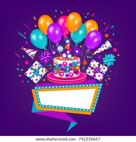 Happy birthday greeting card poster design stok vektr 742236667 happy birthday greeting card poster design with cake present party hat balloon m4hsunfo