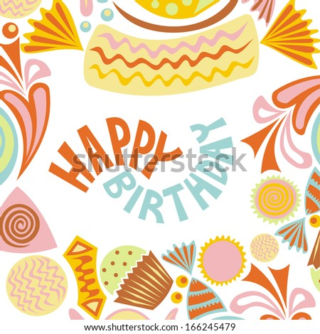 Happy birthday greeting card sweet vector illustration