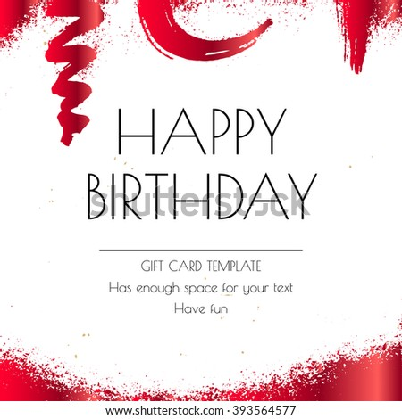 Happy Birthday Greeting Card Template Red Stock Vector