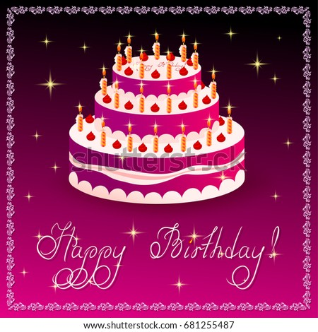 Happy Birthday Greeting Card Template With Cake On Crimson Or Violet  Background. On Top Of