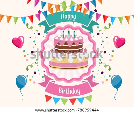 Happy Birthday Greeting Card Typography Gift Stock Vector 788959444