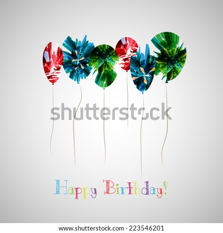 happy birthday greeting card, vector - stock vector