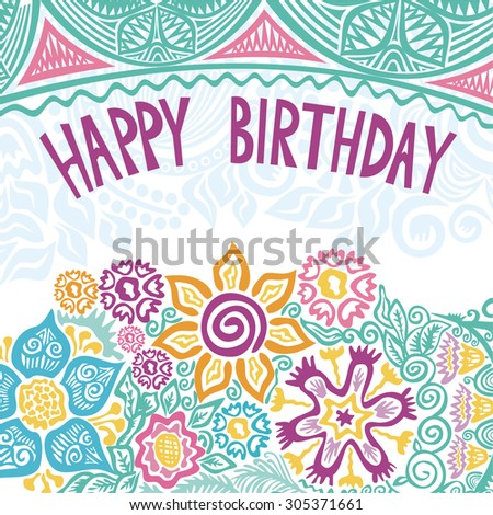 Happy birthday greeting card vector illustration - stock vector