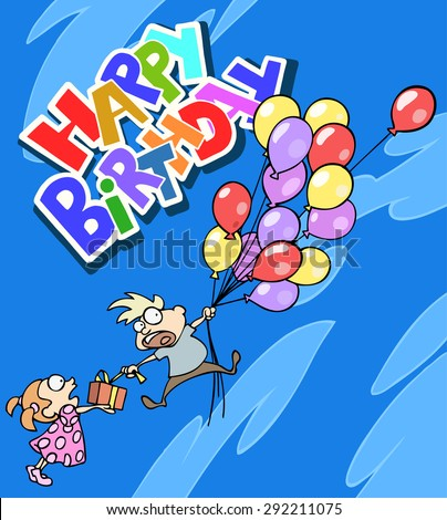 Happy birthday greeting card boy flying stock vector 292211075 happy birthday greeting card with a boy flying away on the bunch of balloons bookmarktalkfo Choice Image
