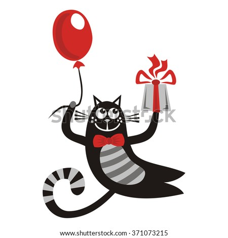 Happy birthday greeting card with beautiful cat balloon and gift vector illustration - stock vector