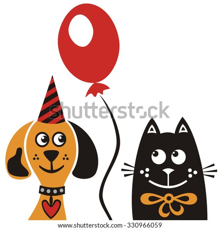 Happy birthday greeting card with beautiful dog and cat vector illustration - stock vector