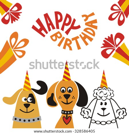 Happy birthday greeting card with beautiful dogs and gifts vector illustration - stock vector