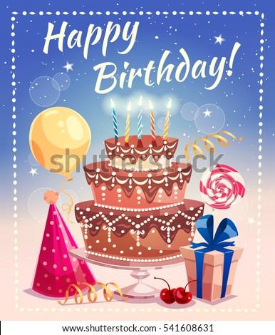 Happy Birthday Greeting Card Big Cake Stock Vector HD Royalty Free