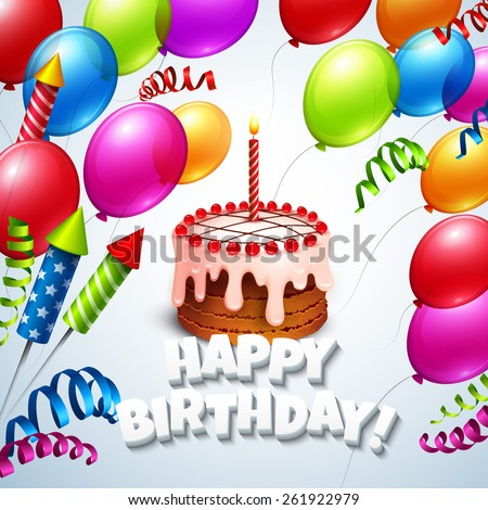 Happy birthday greeting card with cake and balloons. Vector illustration EPS 10 - stock vector