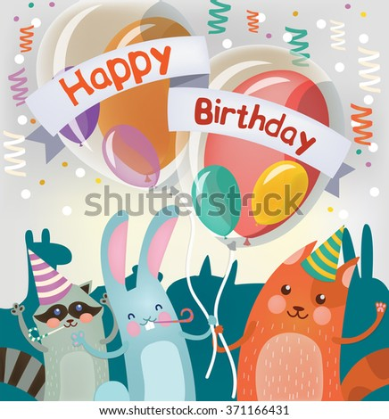Happy Birthday Greeting Card with Cute Animals for Children Party. Vector illustration - stock vector