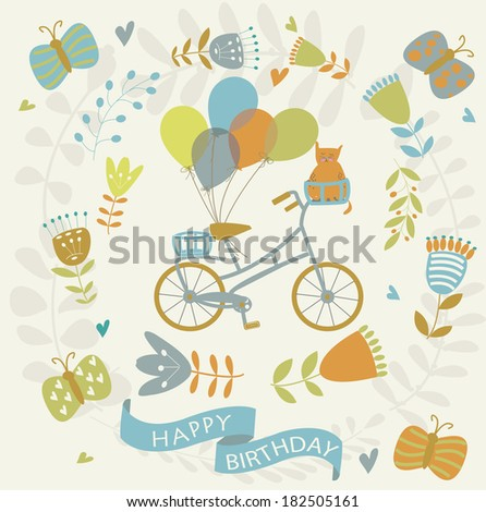 Happy birthday greeting card with cute bicycle, cat, butterflies, balloons and flowers in cartoon style - stock vector