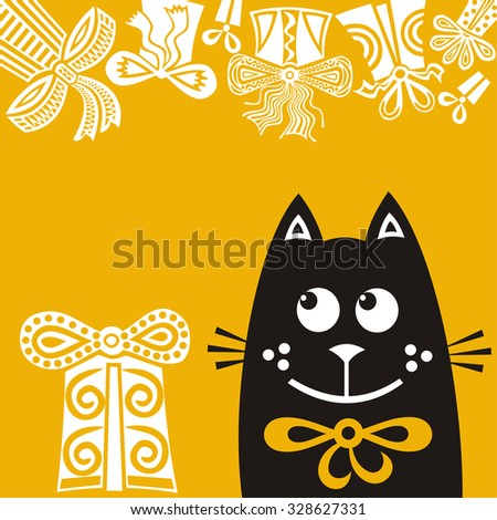 Happy birthday greeting card with cute cat and gifts vector illustration - stock vector