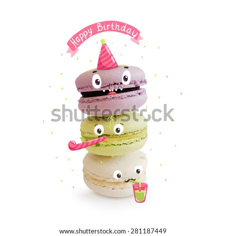 Happy Birthday greeting card with cute macaroon characters. - stock vector