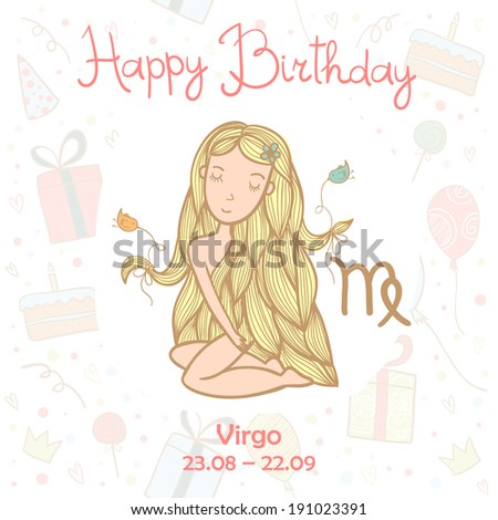 Happy birthday greeting card with cute zodiac sign - Virgo. Vector illustration.