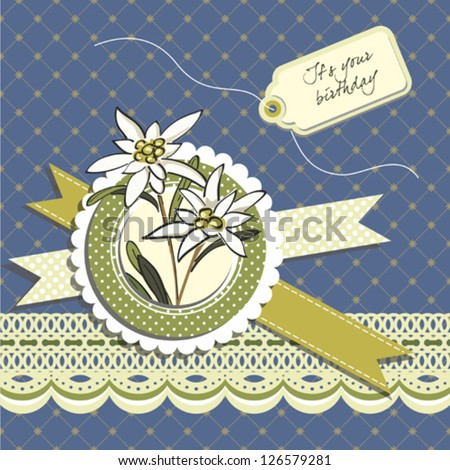 Happy birthday greeting card with edelweiss flowers - stock vector