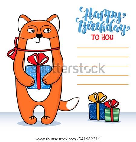 Happy Birthday Greeting Card Fox Holding Stock Vector 541682311