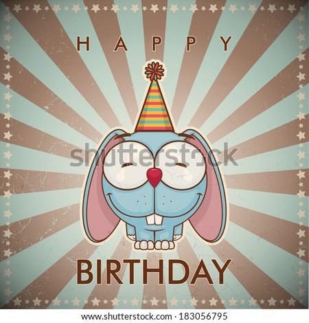 Happy birthday greeting card with funny cartoon rabbit. - stock vector
