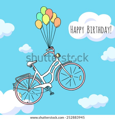 Happy birthday greeting card with hand drawn bicycle flying on balloons in the sky. - stock vector