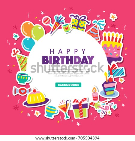 Happy Birthday Greeting Card Party Elements Stock Vector 705504394