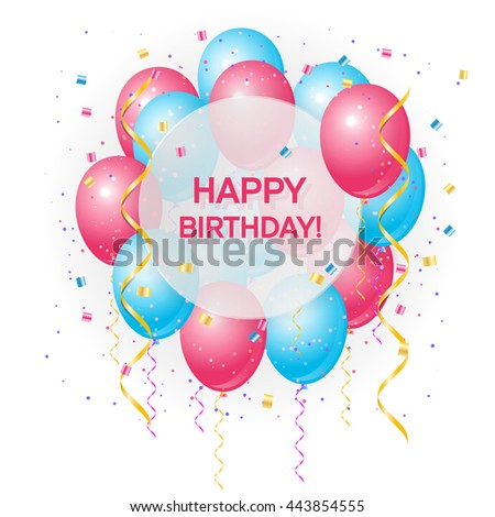 Vector Birthday Card Balloons Happy Birthday Stock Vector ...