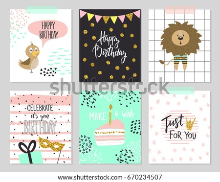Happy birthday greeting cards party invitation stock vector happy birthday greeting cards and party invitation templates vector illustration hand drawn style stopboris Image collections