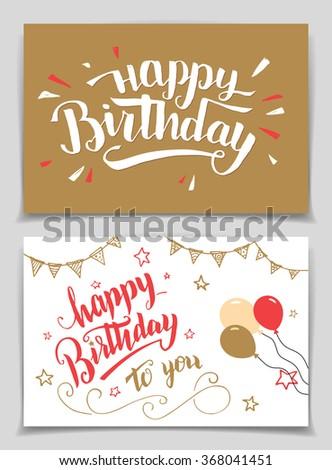 Happy Birthday greeting cards set. Brush calligraphy - stock vector