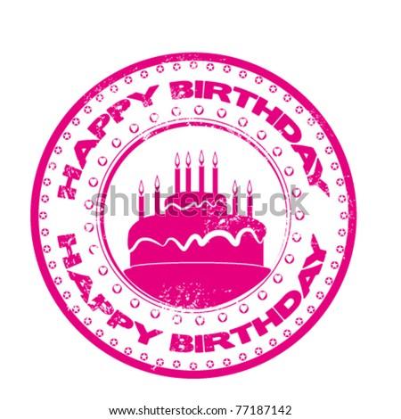 happy birthday grunge stamp - stock vector