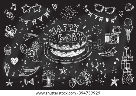 Happy birthday hand drawn sketch set with doodle cake, balloons, fireworks and party attributes - stock vector