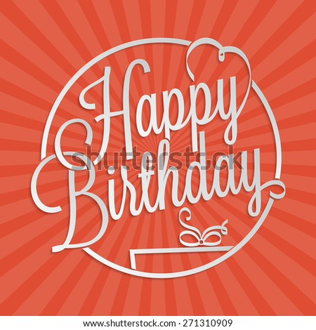 Happy Birthday hand lettering for your design - stock vector