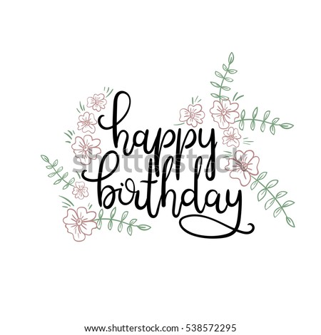 happy birthday hand lettering lettering quotes calligraphy set russian text stock vector 11662