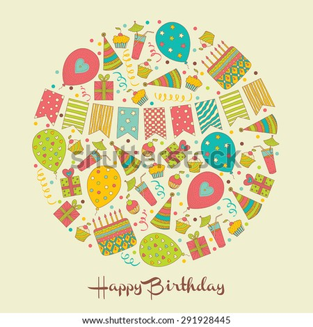 Happy Birthday! Holiday motif. Vector illustration. - stock vector