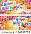 Happy birthday horizontal cards - stock photo