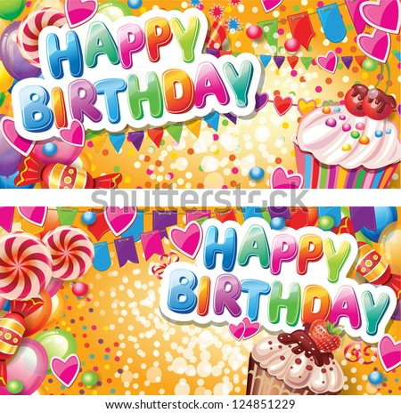 Happy birthday horizontal cards - stock vector
