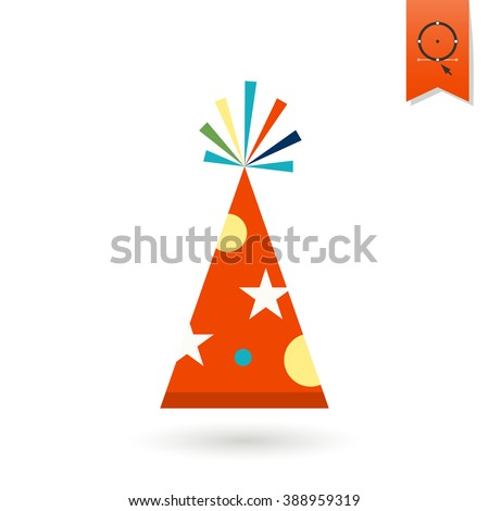 Happy Birthday Icon. Hat. Simple, Minimalistic and Flat Style. Colorful Vector - stock vector